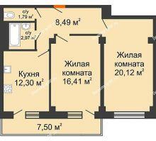 2 комнатная квартира 64,33 м² в ЖК Парковый, дом 6 позиция, блок-секция 3 - планировка
