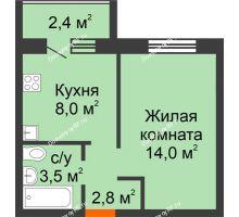 1 комнатная квартира 29,5 м² в ЖК Пять бульваров, дом №18 - планировка