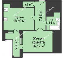 1 комнатная квартира 51,92 м², ЖК Гелиос - планировка