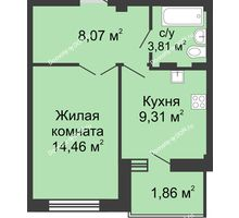 1 комнатная квартира 38,2 м² в ЖК Соловьиная роща, дом № 1 - планировка