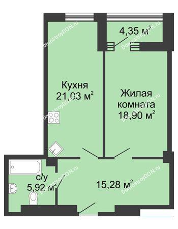 1 комнатная квартира 65,5 м² - ЖК Бристоль