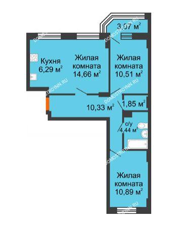 3 комнатная квартира 60,54 м² - ЖК Каскад на Куйбышева