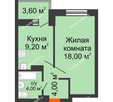 1 комнатная квартира 38,8 м², ЖК Zапад (Запад) - планировка