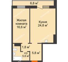 2 комнатная квартира 58 м² в ЖК Курчатова, дом № 10.1 - планировка