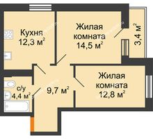 2 комнатная квартира 55,4 м² в ЖК Южный Берег, дом Литер 6 - планировка