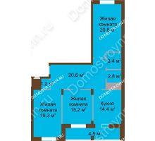3 комнатная квартира 102,3 м² в ЖК Монолит, дом № 89, корп. 1, 2 - планировка
