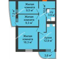 3 комнатная квартира 66,9 м² в ЖК Звезда Столицы, дом Литер 9 - планировка