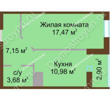 1 комнатная квартира 42,18 м² в ЖК Красная поляна, дом № 8