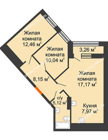 2 комнатная квартира 62,54 м² в ЖК Дом на Набережной, дом № 1