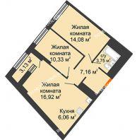 2 комнатная квартира 59,87 м² в ЖК Дом на Набережной, дом № 1 - планировка