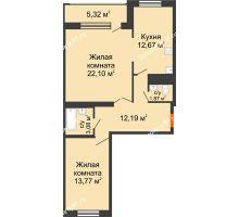 2 комнатная квартира 71 м², ЖК Новая Тверская - планировка
