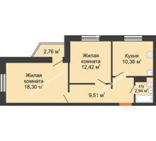 2 комнатная квартира 54,36 м² в ЖК Мончегория, дом № 6 - планировка