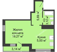 Студия 36,22 м² в ЖК Военвед-Сити, дом № 2 - планировка