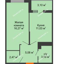 1 комнатная квартира 39,98 м² в ЖК Семейный парк, дом Литер 2 - планировка