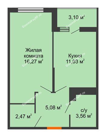 1 комнатная квартира 39,98 м² в ЖК Семейный парк, дом Литер 2