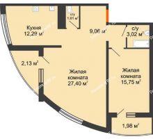 2 комнатная квартира 73,24 м² в ЖК Фамилия, дом Литер 1 - планировка