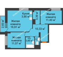 3 комнатная квартира 63,33 м² - ЖК Каскад на Путейской