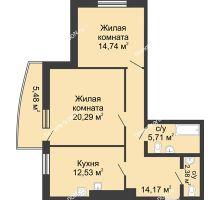 2 комнатная квартира 75,3 м² в ЖК Тихий Дон, дом № 2 - планировка
