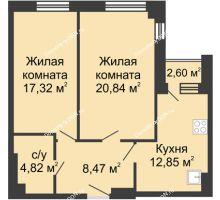 2 комнатная квартира 66,9 м², ЖК Вдохновение - планировка
