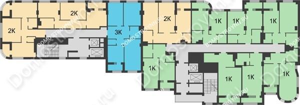 Планировка 10 этажа в доме № 5 в ЖК Караваиха