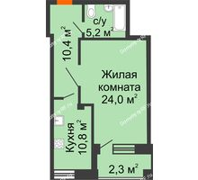 1 комнатная квартира 52,7 м² в ЖКСпутник, дом Позиция 9 - планировка