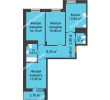 3 комнатная квартира 80,25 м² в ЖК Корица, дом № 1 - планировка