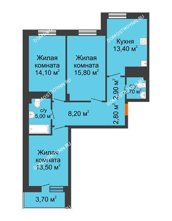 3 комнатная квартира 80,25 м² в ЖК Корица, дом № 1