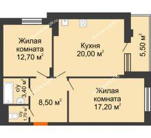2 комнатная квартира 63,3 м² в ЖК Вересаево, дом Литер 5/1