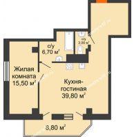 2 комнатная квартира 68,4 м², ЖК Sacco & Vanzetty, 82 (Сакко и Ванцетти, 82) - планировка