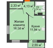 1 комнатная квартира 39,79 м² - ЖК Зеленый берег Life