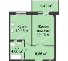 1 комнатная квартира 34,01 м² в ЖК Соловьиная роща, дом № 7 - планировка