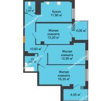 3 комнатная квартира 73,85 м² в ЖК Грин Парк, дом Литер 2 - планировка