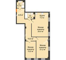 2 комнатная квартира 99,52 м² в ЖК Георгиевский, дом 6 - планировка