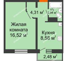 1 комнатная квартира 33,09 м² в ЖК Торпедо, дом № 16 - планировка