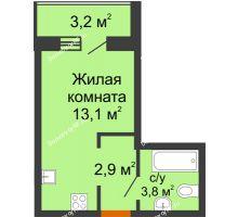 Студия 21,4 м² в ЖК Самолет 2, дом Литер 3 - планировка