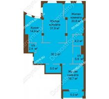 3 комнатная квартира 140,8 м², ЖК Бояр Палас - планировка