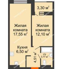 2 комнатная квартира 46,08 м², ЖК ПАРК - планировка