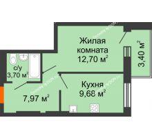 1 комнатная квартира 36,55 м² в ЖК Днепровская Роща, дом № 2 - планировка