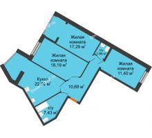 3 комнатная квартира 88,98 м² в ЖК Бунина парк, дом 3 этап, блок-секция 3 С - планировка