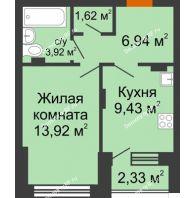 1 комнатная квартира 36,91 м² в ЖК Суворов-Сити, дом 2 очередь секция 1-5 - планировка