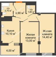 2 комнатная квартира 51,9 м² в ЖК Грин Парк, дом Литер 1 - планировка