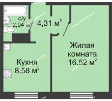1 комнатная квартира 32,35 м² в ЖК Бурнаковский, дом № 46 - планировка