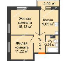 2 комнатная квартира 45,25 м² - ЖК Зеленый берег Life