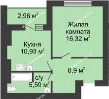 1 комнатная квартира 43,22 м² в ЖК Парк Горького, дом 62/2, №4