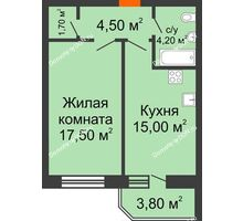 1 комнатная квартира 46,7 м² в ЖК Звездный, дом № 6