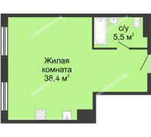 Студия 43,8 м² в ЖК Сердце Нижнего, дом № 35 - планировка