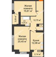 2 комнатная квартира 69,69 м², ЖК Монте-Карло - планировка