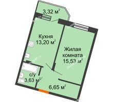 1 комнатная квартира 40,67 м² в ЖК Мандарин, дом 1 позиция 1,2 секция - планировка
