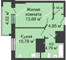 1 комнатная квартира 37,76 м², ЖК Гелиос - планировка