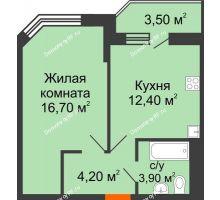 1 комнатная квартира 56,7 м² в ЖК Перспектива, дом Литер 3.5 - планировка